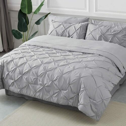 Bedsure King Size Comforter Sets - Bed in A Bag 8 Pieces, Pinch Pleat Grey Comfo