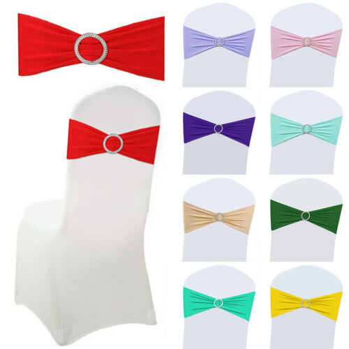 25/50/100/200 Spandex Chair Bands With Buckle Wedding Banquet Chair Bow Sashes