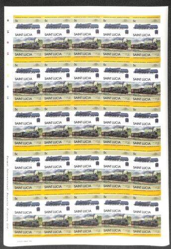 [OPG1110] St Lucia 1983 Railways lot of 25x complete imperf set in sheets VF MNH