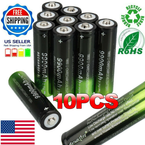 2-8x 9900mAh Battery Li-ion 3.7V Rechargeable Charger Set For Flashlight Torch
