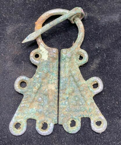 Authentic Ancient Lake Ladoga VIKING Artifact > Bronze Fibula Brooch  VW3-3