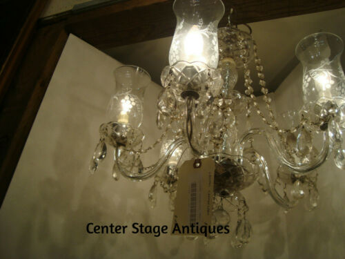51939  Vintage Glass Crystal Chandelier w/ etched Glass Globes