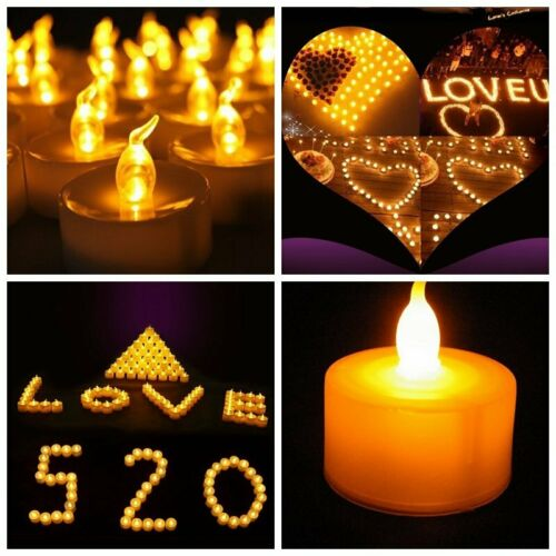 12/24PCS  LED Tealight Flameless Votive Candles Battery Operated Yellow Lights