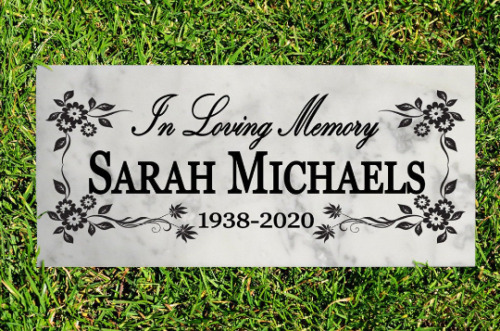 Personalized Memorial Stone Floral Style Gift Custom Marble Remembrance Stone
