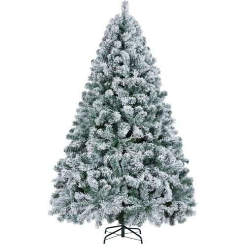 6ft/7.5ft Pre-lit Snow Frosted Artificial Christmas Tree with Warm White Light