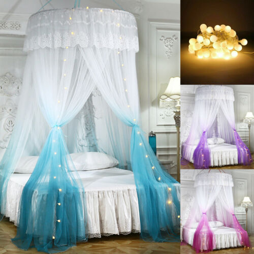 Luxury Mosquito Net Bed Canopy w/ LED String Lights for King Queen Full Bed