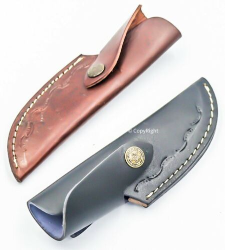 """7"""" Handmade Real Leather Sheath For Fixed Hunting Blade Knife Engraved /Belt Loo"""