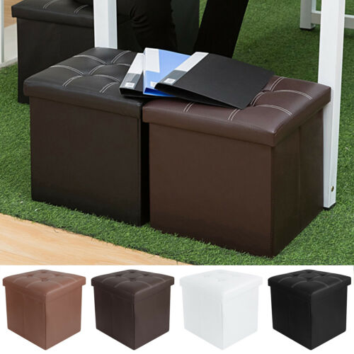 """15"""" Leather Foldable Storage Ottoman Footrest Bench Stool Padded Seat Cube Box"""