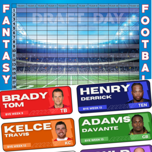 2021 Fantasy Football Draft Board & Labels - Complete Draft Kit -The Football DR