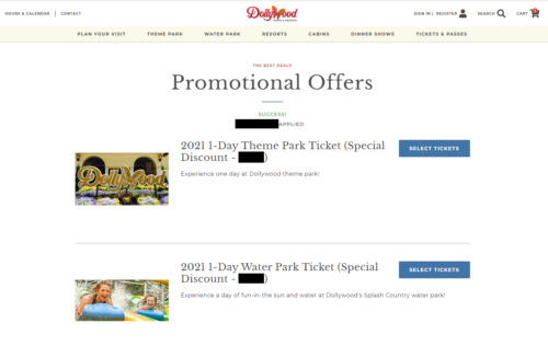 DOLLYWOOD & SPLASH COUNTRY Discount Tickets Promo Savings Tool (Adult & Child)
