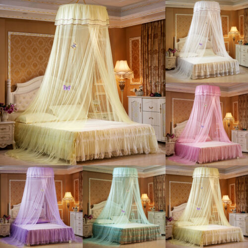 Elegant Lace Curtain Bed Canopy Princess Mosquito Net for Twin Full Queen Bed