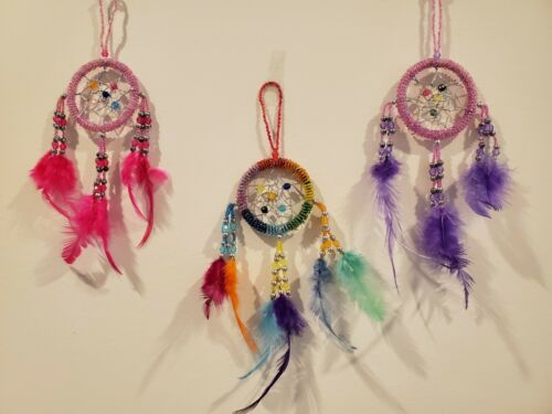 """Pink Purple Rainbow Multi-Color Beaded Dream Catcher Feather Wall Decoration 11"""""""