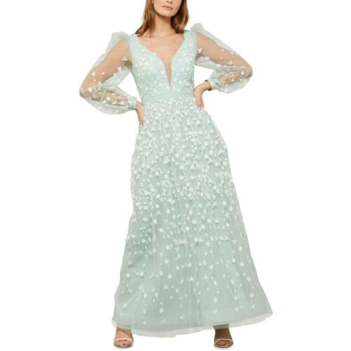 BCBG Max Azria Women's Floral Embroidered Long Sleeve Tulle Illusion Gown