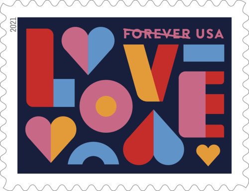 1000 New 2021 USA Love Forever Stamps, 50 Panes of 20 Scott #5543