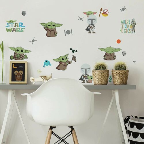 Mandalorian The Child Illustrated Peel & Stick Wall Decals 24 BABY YODA Stickers