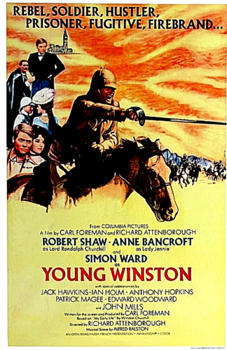 """16mm Film Feature """"Young Winston"""" Robert Shaw 1972 Scope Mylar 3-1600'"""