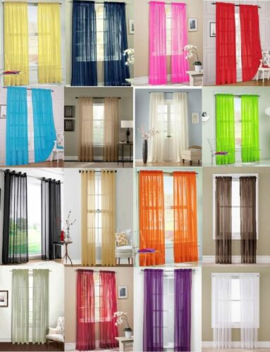 """2Pc Sheer Voile Window Panel curtains DRAPE 63"""" , 84 , 95"""" or 1Pc SCARF MANY COLOR"""