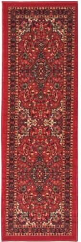 Red Oriental Style Medallion Area Rug Runner ~ Non-Slip Safety Backing ~ 2 x 5