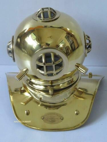 Vintage Brass & Copper US Navy Scuba Model Mini Diving Divers Helmet
