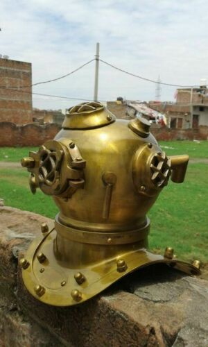 DIVING DIVERS HELMET BRASS ANTIQUE SCUBA HELMET DECOR DESK GIFT REPLICA