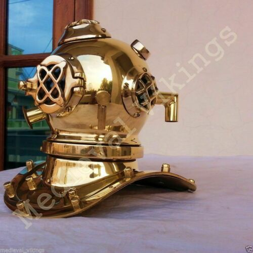 SOLID BRASS COPPER DIVERS DIVING HELMET U.S NAVY REPLICA TABLETOP NAUTICAL DECOR