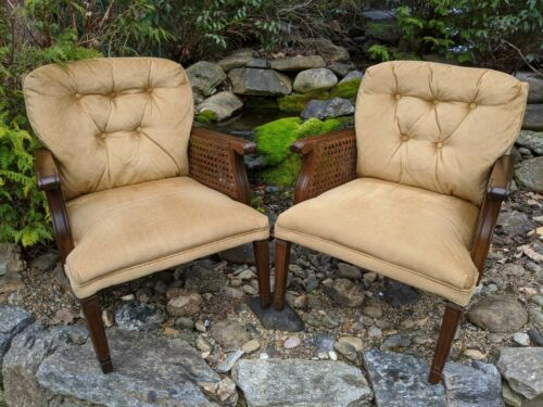 Pair Mid-Century NC Walnut Wood Arm Chairs w/Cane Side Panels & Velvet Fabric