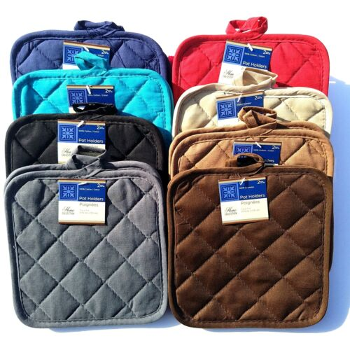 """2pk Quilted Cotton Kitchen Pot Holders Heat Resistant Up To 350 F 176 C 7""""X7"""""""