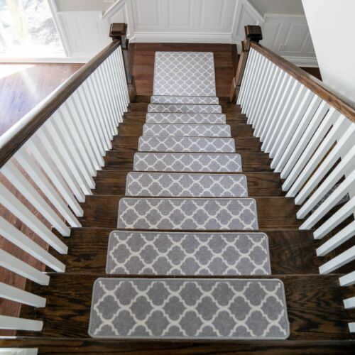 Benissimo Durable Polyester Carpet Stair Treads Skid Resistant Set of 13 + 1