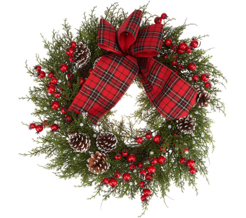 """22"""" Juniper, Pinecone, and Berry Wreath by Valerie.  H216325"""