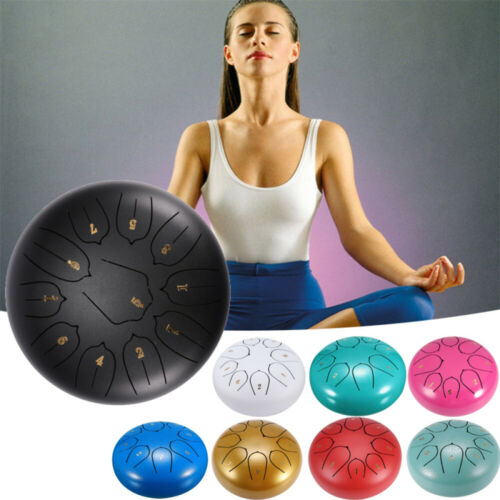 """6""""-10"""" 8-11 Tune Steel Tongue Drum Hand Pan Drum Tank Hang Drum With Bag Mallets"""