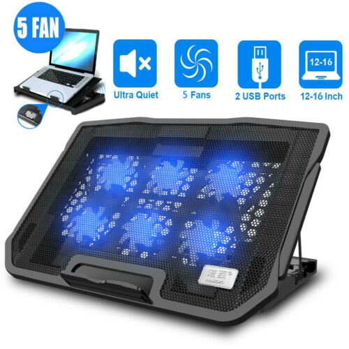 """Upgrade Laptop Cooling Pad Slim Stand 12""""-18"""" Notebook PC Led Quiet Cooler Fans"""