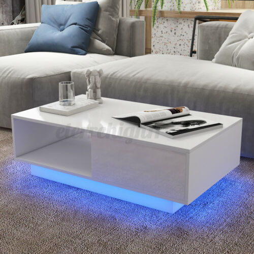 Modern High Gloss LED Coffee Table w/ 2 Drawers End Table White/Black Furniture