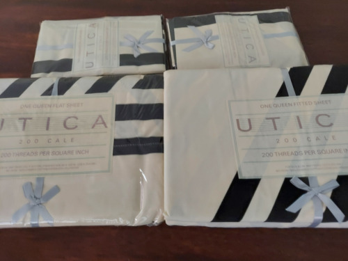 Utica 200 count queen flat, queen fitted 4 pillowcases white with black diagonal