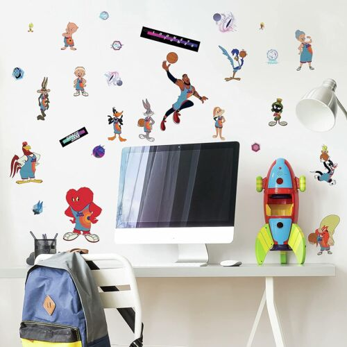 New Space Jam Peel & Stick 34 Wall Decals LeBron James Basketball Team Stickers
