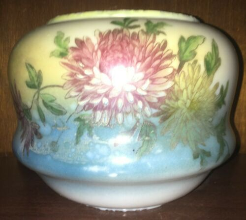 Antique /Vintage Glass Oil Lamp Base - YELLOW AND BLUE WITH CHRYSANTHEMUMS.