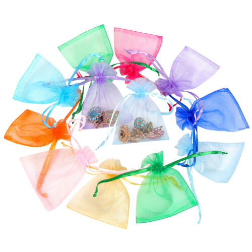 """100/200pcs Organza Gift Bags Jewelry Drawstring Candy Favors Pouch Mesh Bag 5x7"""""""