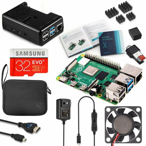 Vilros Raspberry Pi 4 Complete Kit with Black Fan Cooled Case