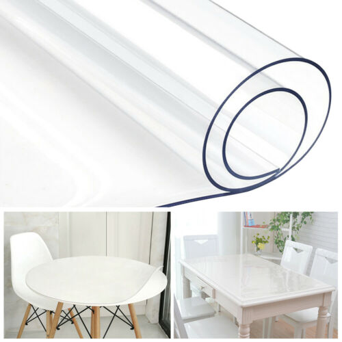 PVC Clear Table Cover Waterproof Tablecloth Transparent Desk Protector Pad Mat