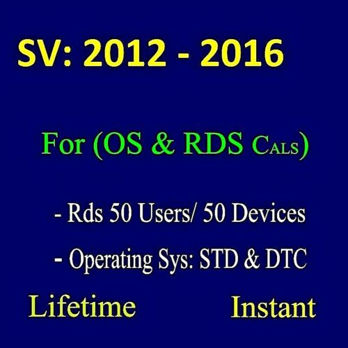RDS - SERVER 2019/2016/2012 50 USER/DEVICES CALS AND 0S CODE STANDARD/DATACENTER
