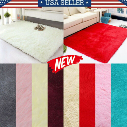 Fluffy Rugs Anti-Skid Shaggy Carpet Rectangle Floor Mat Home Bedroom colourful