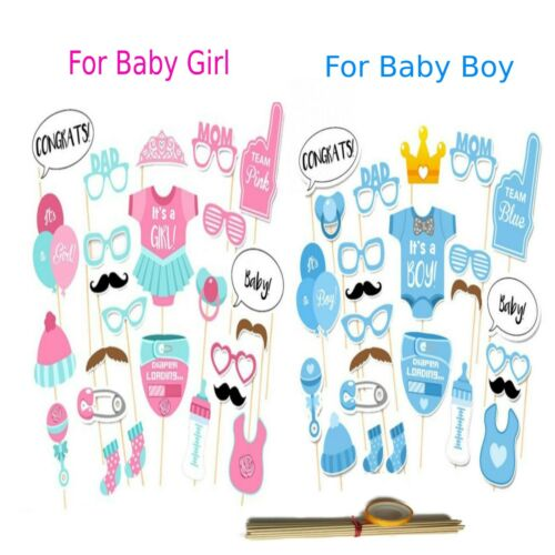 24PCS Baby Shower Gender Reveal Photo Booth Props New Born Boy Girl Party Decor