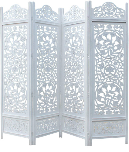COTTON CRAFT Kamal The Lotus Antique White 4 Panel Handcrafted Wood Room Divider