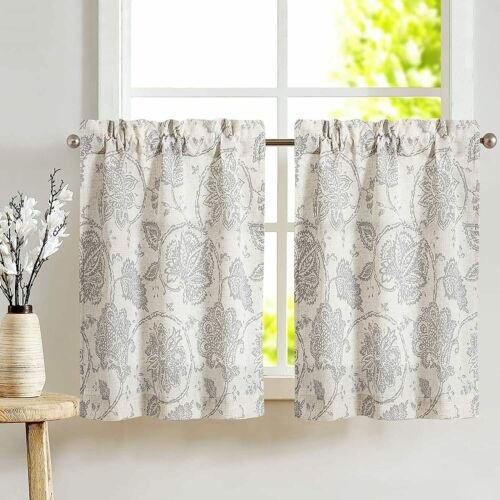 Kitchen Curtains Pleated Tier Floral Scroll Printed Linen for Bedroom 2 Panels