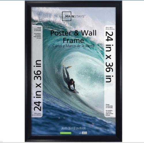 24 x 36 Casual Poster and Picture Frame Black Styrene Front Beveled Edges