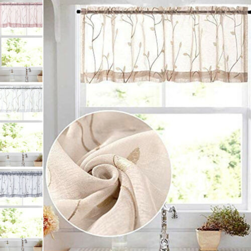 Topick Sheer Valance Window Curtains Floral Rod Pocket for Kitchen Voile 1Panel