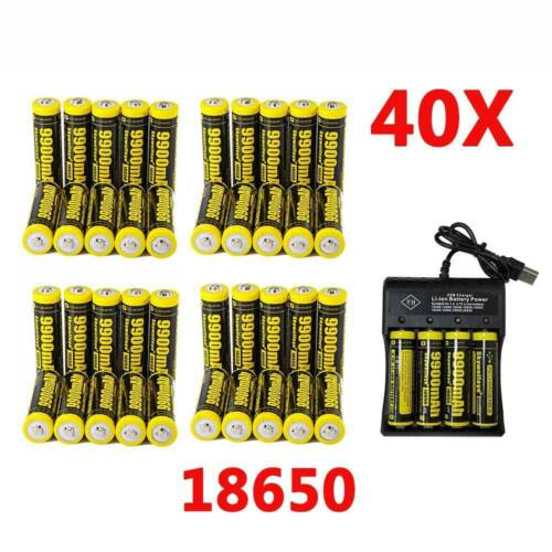 40X Battery 9900mAh 18650 3.7v Rechargeable Batteries Cells with Charger Lot