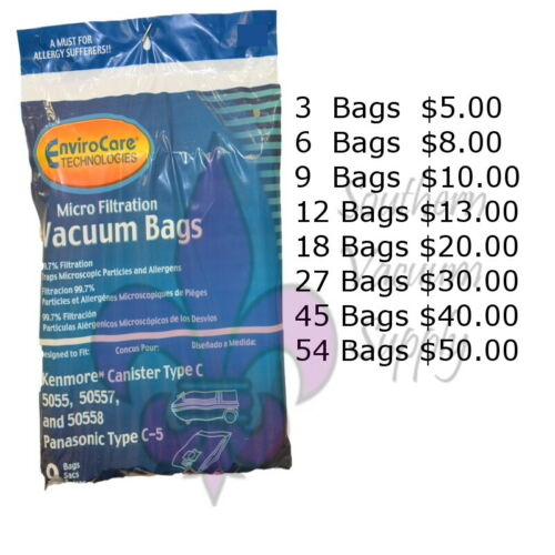 Sears Kenmore Canister Type C Vacuum Bags For 5055, 50557 and 50558 Models