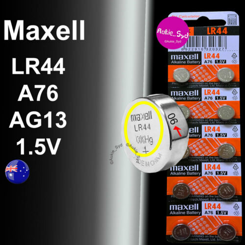 Genuine Maxell LR44 Aukie_Syd Battery A76/AG13 Button Cell Batteries 100~20~10~1