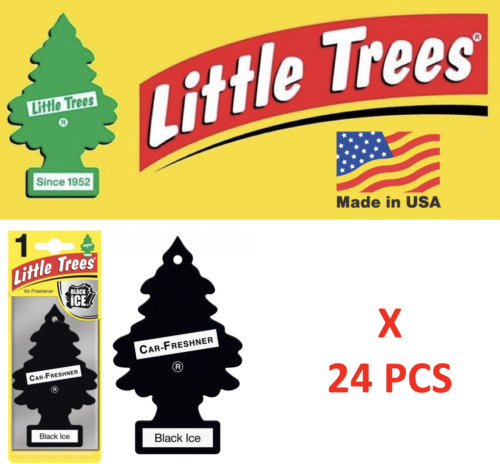 Black Ice Freshener Little Trees 10155  Air Little Tree MADE IN USA Pack of 24