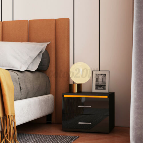 WOODY Modern RGB LED Nightstand with Drawers High Gloss Bedside Table Dresser